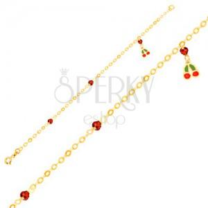 Zlatý náramek 375 - glazované třešně, blyštivé kuličky na lesklém řetízku