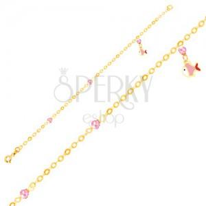 Náramek ve žlutém 9K zlatě - glazovaná rybička, růžové kuličky, lesklý řetízek