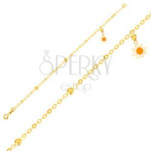 Náramek ze žlutého 9K zlata - řetízek, glazovaný kvítek, blyštivé kuličky