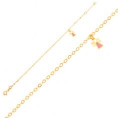 Zlatý náramek 375 - figurka děvčátka s emailem na blyštivém řetízku GG01.63