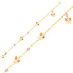 Zlatý 9K náramek na ruku - růžovo-bílí motýli a skleněné kuličky, řetízek GG01.66