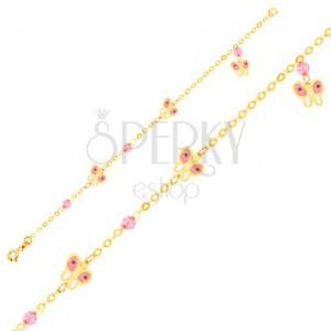 Zlatý 9K náramek na ruku - růžovo-bílí motýli a skleněné kuličky, řetízek