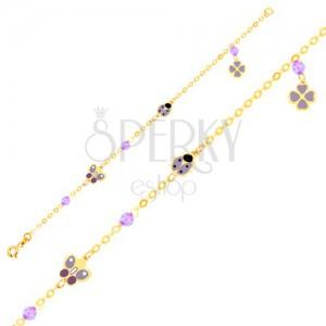 Náramek ve žlutém 9K zlatě - glazovaný motýl, beruška, čtyřlístek, kuličky, řetízek