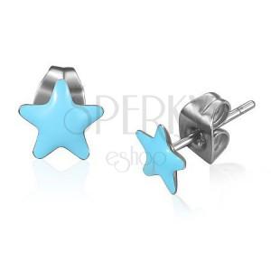Ocelové náušnice - modré glazované hvězdy
