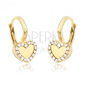 Zlaté náušnice 585 - pravidelné lesklé srdce, zirkonová kontura
