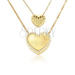 Zlatý náhrdelník 585 - zrcadlově lesklé souměrné srdce, výřezy srdíček, zirkony