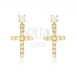 Náušnice ze žlutého 14K zlata - malý latinský zirkonový kříž