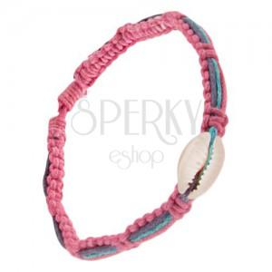 Růžový pletenec s ulitou, fialová, modrá a růžová šňůrka