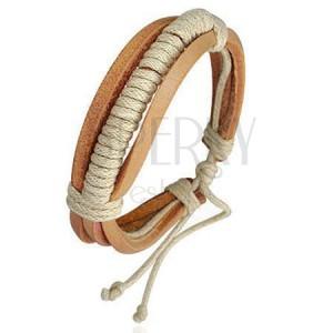 Náramek ze světlehnědých kožených pásů omotaných béžovou šňůrkou