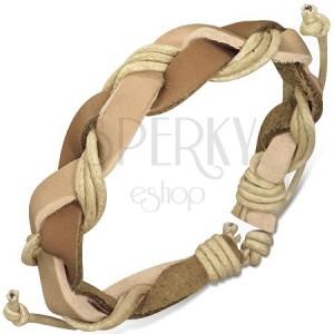Pletený náramek z hnědých proužků kůže a béžových šňůrek