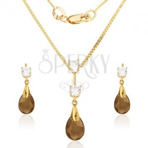 Zlatý set 585 - náušnice a přívěsek, vybroušený slzičkový kámen-záhněda, zirkony