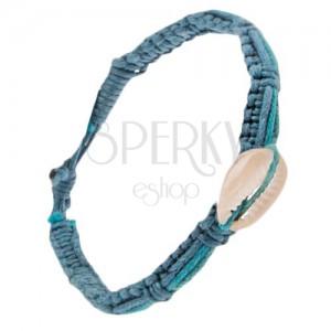 Pletený šňůrkový náramek s pásky různých odstínů modré, mušle