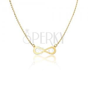 Zlatý 14K náhrdelník - lesklý plochý symbol nekonečna, blyštivý řetízek