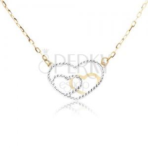 Náhrdelník ze žlutého 14K zlata - kontury pravidelných srdcí, řetízek