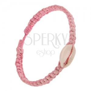 Šňůrkový pletenec růžové barvy, oválná lastura