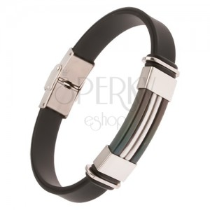 Gumový náramek z černé gumy, černá ocelová známka se stříbrnými pásy