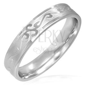 Prsten z chirurgické oceli, révový ornament
