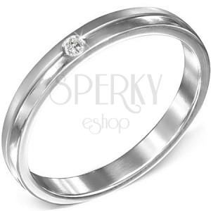 Ocelový prsten s čirým zirkonem, matný a lesklý pás