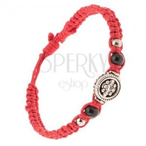 Červený pletenec ze šňůrek, ozdoba s kuličkovým vzorem, korálky