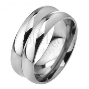 Ocelový prsten z oceli 316L, efekt dvou obrouček, 8 mm