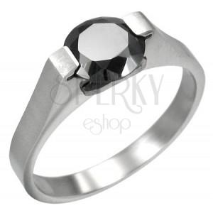 Prsten z chirurgické oceli s černým zirknem