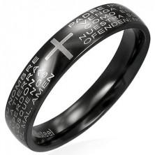 Prsten z černé chirurgické oceli s modlitebním náboženským textem
