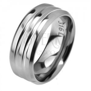 Oceľový prsteň, dva žliabky, skosené okraje