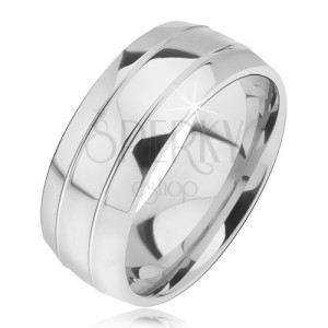 Zaoblený ocelový prsten, dva úzké žlábky