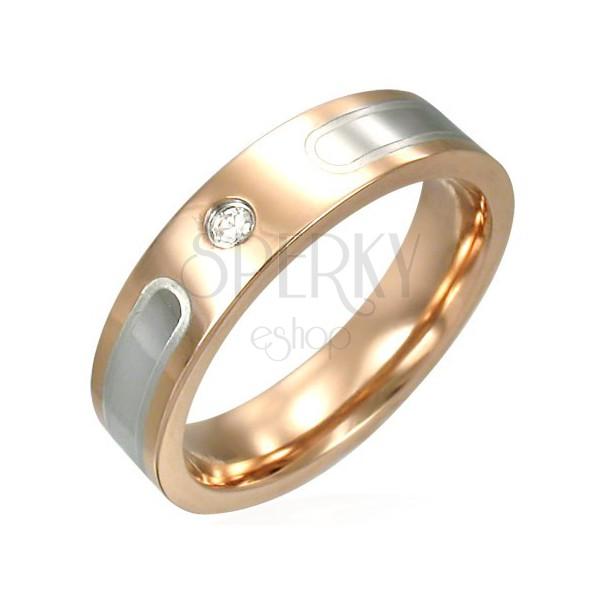 Prsten z chirurgické oceli v bronzové barvě se zirkonem a stříbrnými pruhy