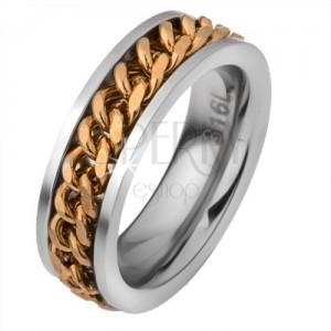 Ocelový prstýnek s pohyblivým řetízkem zlaté barvy