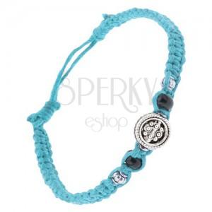 Azurově modrý šňůrkový pletenec, kruhová ozdoba, korálky