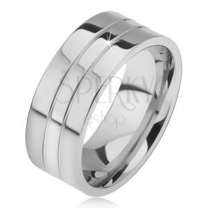 Prsten z oceli 316L, dva úzké zářezy, rovný povrch