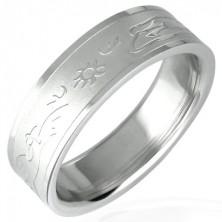 Ocelový prsten se vzorem zapadajícího slunce