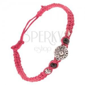 Pletený šňůrkový náramek tmavě růžové barvy, spirálový ornament