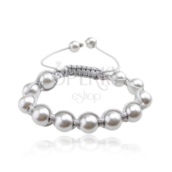 Náramek Shamballa, lesklé stříbřité perly