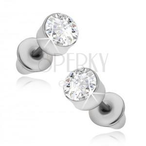 Náušnice - kruhové stříbrné objímky s čirým kamínkem