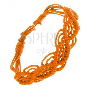 Oranžový náramek ze šňůrek, vlnkový vzor