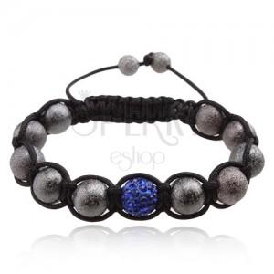 Shamballa náramek, šedé korálky, tmavě modrá zirkonová kulička