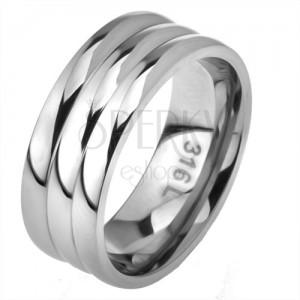 Ocelový prsten, rovný povrch, efekt tří obrouček
