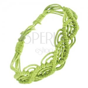 Šňůrkový náramek světle zelené barvy, motiv vln