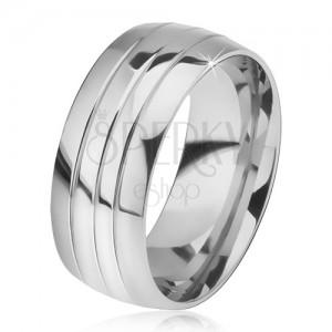 Oblý ocelový prsten, lesklý povrch, tři rýhy