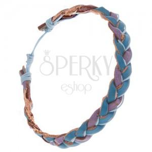 Zaplétaný modro-fialový kožený náramek, světle modrá šňůrka