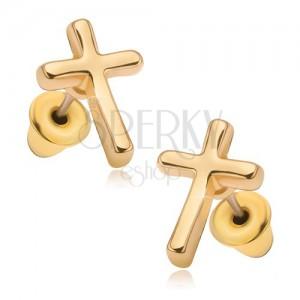 Náušnice s lesklým zlatým povrchem, latinský kříž