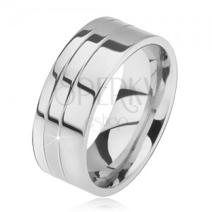Prsten z oceli, lesklý, rovný, dva zářezy u okraje