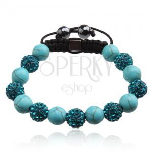 Světle modrý Shamballa náramek, zirkonové a mramorové korálky
