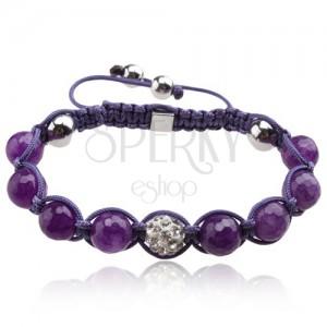 Lesklý fialový Shamballa náramek, kulička s čirými kamínky