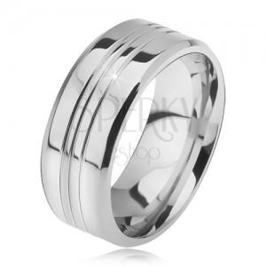 Ocelový prsten, rovný se zkosenými okraji, tři středové zářezy