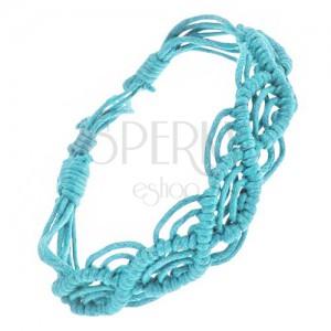 Azurově modrý náramek ze šňůrek, vlnkový motiv