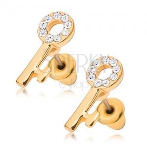 Puzetové náušnice, zlatý klíč s čirými kamínky