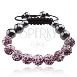 Náramek Shamballa, fialové kuličky s čirými květy, hematitové korálky